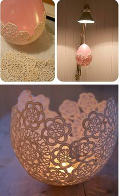 DIY Lace Doily Tea Light Candle Holder