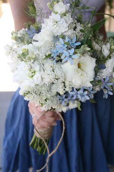 A bridesmaid bouquet, including gillyflower, lisianthus, nigella, tweedia, statice and queen