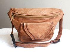 Vintage Caramel Leather Fanny Pack  $28