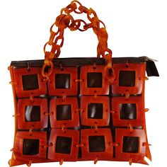 Vintage Squares and Handle Lucite With Brown Vinyl Purse found at www.rubylane.com @rubylanecom