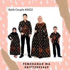 Setelan model baju gamis batik couple keluarga sarimbit kombinasi kemeja lengan panjang terbaru untuk kondangan batik couple 2022 Batik Couple, Couples, Couple