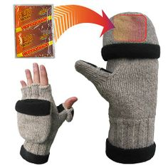 Heat Factory Fleece-Lined Ragg Wool Gloves with Fold Back Pocket for Hand Warmer