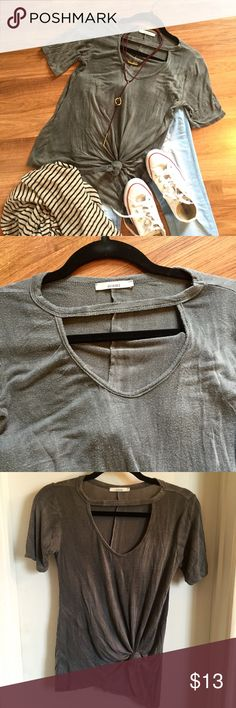 Gray tie dye choker neck tshirt Gray tie dye choker neck tshirt. Super soft and comfy, distressed vintage style. OPEN TO OFFERS, DISCOUNTS ON BUNDLES. Francesca's Collections Tops Tees - Short Sleeve