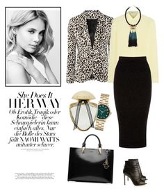 """Black pencil skirt"" by lera-chyzh ❤ liked on Polyvore featuring T By Alexander Wang, H&M, Warehouse, Gianvito Rossi, Karl Lagerfeld, Marc by Marc Jacobs, Bulgari, women's clothing, women's fashion and women"