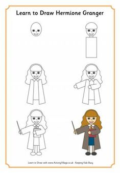 Learn to draw Hermione Granger, friend to Harry Potter from their first meeting on the train to Hogwarts and his loyal supporter and companion in wizardry and his fight against evil! -- Activity Village is a Small Publishing website.