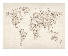 an even better floral swirl of the world map