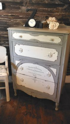 Antique dresser makeover by Zoey's - Painted pottery barn gray/tan color & linen white ... inked french graphics ...sooo romantic!