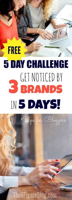 FREE 5 Day Challenge - Get Noticed by 3 Brands in 5 Days - Tips for Bloggers Make Money Blogging, Way To Make Money, Pinterest For Business, Creative People, Good Job, Blogging For Beginners, How To Start A Blog, Social Media Marketing, Challenges