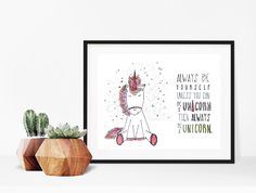 Home decor - print art - wall art - drawing - art print - print - Always be yourself unless you can be a unicorn - unicorn illustration by madeinhappy on Etsy Drawing Art, Art Drawings, Unicorn Illustration, Gallery Wall, Illustrations, Art Prints, Canning, Wall Art, Handmade Gifts