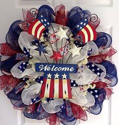 Uncle Sam Hat with American Flag and Stars Patriotic Deco Mesh Welcome Wreath What A Mesh by Diana Deco Mesh Crafts, Wreath Crafts, Diy Wreath, Wreath Ideas, Tulle Wreath, Wreath Making, Patriotic Wreath, Patriotic Crafts, July Crafts
