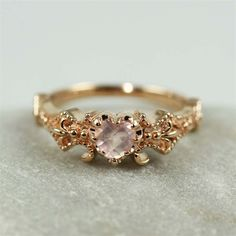 Pink Gold Floral Rose Quartz Ring