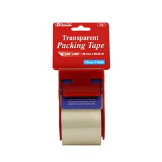 Clear packing tape with dispenser.  This tape dispenser is your standard packing tape dispenser. Use it to tape shut your packages, envelopes, and boxes that need to be securely closed. Along with being great for at home, this is ideal for every day use in schools, offices and commercial workplaces. These packing tape dispensers are individually wrapped, and there are 24 in each case.