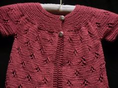 July 20% off this & all hand knitted items-use coupon code JulySale.  Baby Sweater Hand Knitted in Rose Bamboo by KnottyKnitterShop.Etsy.com