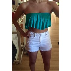 Turquoise Crop Top The perfect summer crop top! Great with high waisted shorts. Turquoise. NEVER WORN. Tags attached. A Ellen Tops Crop Tops