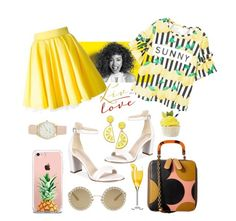 """""""Yellowish"""" by rhnzhrh ❤ liked on Polyvore featuring Kenneth Cole, Orla Kiely, The Casery, Dolce&Gabbana, Celebrate Shop, Nine West, Paul Mitchell, MANGO and Philipp Plein"""