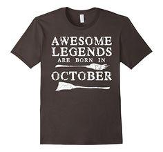 Mens Legends Are Born In October Shirt Halloween Birthday T-Shirt 2XL Asphalt
