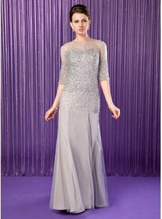Trumpet/Mermaid Scoop Neck Floor-Length Chiffon Tulle Mother of the Bride Dress With Beading Sequins (008019704) - JJsHouse