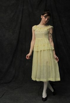 Vintage Floral Print Yellow Day Dress  1950s / 1960s by VeraVague, $75.00