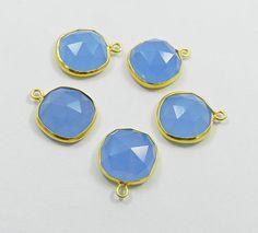 5 Pcs Silver 925 Blue Chalcedony Cushion Single Loop Connectors, Wholesale Lots #Handmade