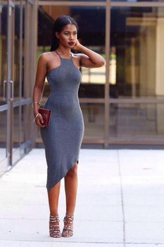 grey dress summer dress bodycon dress style midi skirt midi dress fashion vest shoes