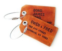 Pair of Custom Leather Luggage Tags / Owen & Fred