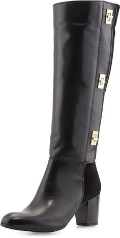 Sesto Meucci Sabra Turn-Lock Contrast Leather Knee Boots, Black at Last Call by Neiman Marcus