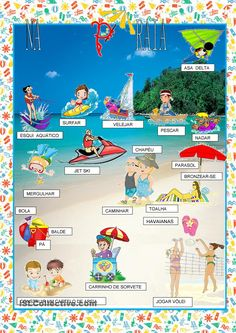 Portuguese vocabulary - Na praia / On the beach French Language Learning, Learn A New Language, Language Lessons, Teaching French, Teaching Spanish, Jet Ski, Ski Nautique, Learn Brazilian Portuguese, Portuguese Lessons