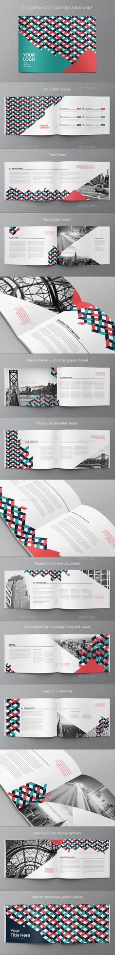 Colorful Cool Pattern Brochure Template 	InDesign INDD. Download here: https://graphicriver.net/item/colorful-cool-pattern-brochure/17113432?ref=ksioks