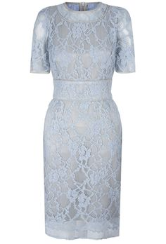 Beautiful French lace contoured shift dress. Soft baby blue with mercury grey stretch silk satin inner. A knee length dress with sheer lace sleeves and neckline. Trimmed in silk. French seamed finishing. A wonderful, flattering and versatile investment piece which can be worn from day through to dinner. A neat, charming silhouette. An understated wardrobe investment piece which can take you through the seasons. Available in bespoke colours from our London boutique only.