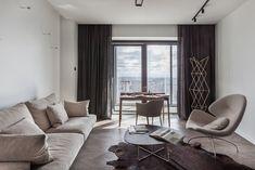 Four-Room Apartment in the Center of Minsk / Interra Studio Apartment Interior, Apartment Design, Living Room Hardwood Floors, Chevron Floor, Four Rooms, Office Nook, Comfy Sofa, Minimalist Furniture, Floor Patterns