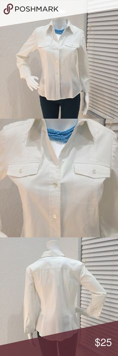 Theory Button Down Shirt White Theory button down shirt. Has two front pockets and tabs in the sleeve to roll up. Stretchy material. Theory Tops Button Down Shirts