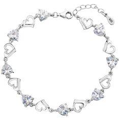 EleQueen 925 Sterling Silver CZ Love Heart of Ocean Titanic Inspired Tennis Bracelet, 7.1' 1.2' Extender >>> Visit the image link more details.