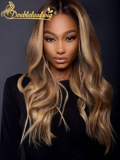Omber brown blonde color wavy long wigs for black women human hair wigs lace front wigs african american wigs hairstyles Blonde Hair Black Girls, Honey Blonde Hair, Blonde Wig, Brown Blonde, Medium Blonde, Hair Medium, Blonde Balayage, Cheap Human Hair Wigs, Real Hair Wigs
