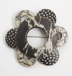 Wholioli Brooch: Louise Fischer Cozzi: Polymer Pin | Artful Home