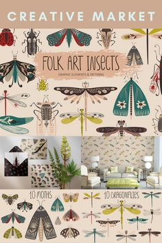 Folk Style Insects Digital Design Assets Collection - including Colourful & Decorative Illustration Elements of Bugs, Moths, Dragonflies · Various Seamless Insect Pattern Designs | #photoshop #illustrator #digitaldesign #creativeassets #graphicdesign #graphicelements #patterndesign #logodesign #botanicaldesign #insectdesign #creativemarket #affiliatelink Folk Style, Logo Design, Graphic Design, Folk Fashion, Pattern Designs, Photoshop Illustrator, Dragonflies, Folk Art, Bugs