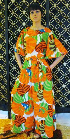 Vintage Hawaiian Palazzo Jumpsuit- Koa Hawaiian Fashions-Vintage 1960s.