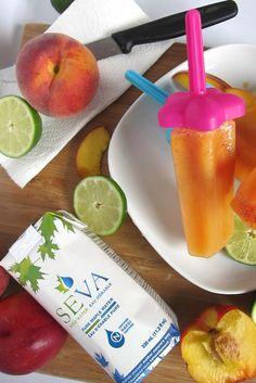 Peach Tea Ice Pops with SEVA Maple Water Ice Pops, Water Recipes, Cantaloupe, Peach, Pure Products, Fruit, Desserts, Food, Popsicles
