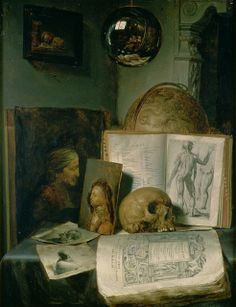 Gerrit Dou (Dutch, 1613-1675)   Still Life with a Skull (c.1650)