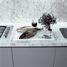 grey cabinet w/ marble counter (Treeline).  Powder Day has White Oak cabinetry with honed marble tops.