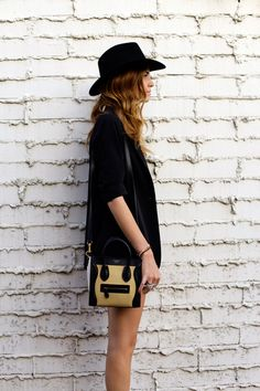 felt hat and oversized blazer.