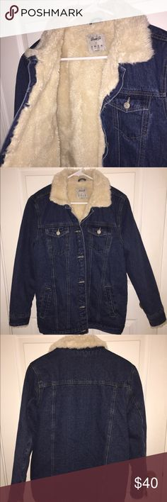 Jean jacket with fleece in the lining. Oversized fit trendy dark wash jean jacket with fleece lining. Broad shoulders and longer arms. Can look amazing on men as well. US size 8. Purchased from Primark in London, UK. Jackets & Coats Jean Jackets
