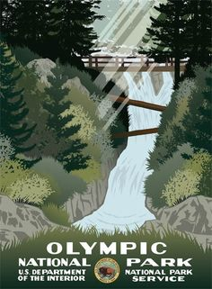 Olympic National Park WPA-style travel poster produced by… Vintage National Park Posters, Poster Wall, Poster Prints, Voyage Usa, Wpa Posters, Retro Posters, Theme Nature, Into The West, Park Art