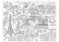 Coloriages OMY: posters géants de Paris, de NY ou du monde à colorier en groupe classe