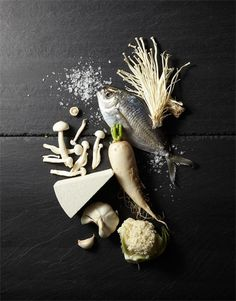 ingredient dish | vegetables . Gemüse . légumes | fisch & seafood . Fisch & Meeresfrüchte . poisson & fruits de mers | Food. Art + Style. Photography: Food on black by Yunhee Kim |