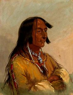 """Miller was impressed with Shim-a-co-che (High Lance), the Crow chief, a distinguished man, """"full of dignity, and such as you might look for in a well-bred . Native American Photos, Native American Indians, American Artists, Jacob Miller, Crow Art, Fur Trade, American Frontier, Mountain Man, Native Art"""