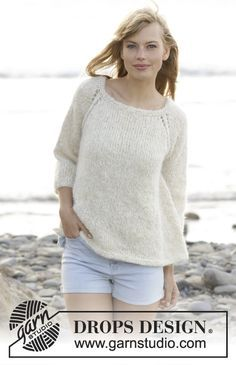 """Knitted DROPS jumper with raglan, worked top down in """"Melody"""" and """"Glitter"""". - See more at: http://www.garnstudio.com/pattern.php?id=7463&cid=17#sthash.KrLkaHPy.dpuf"""