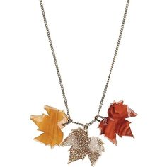 Fallen Leaves Triple Pendant ($37) ❤ liked on Polyvore featuring jewelry, necklaces, leaves, triple pendant, leaf pendant, leaves jewelry, pendant jewelry and leaf jewelry