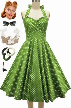 50S Style Eleanorpaige Pinup Avocado Polka Dots Sweetheart Bust Halter Sun Dress