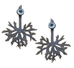 Wolfsbane blackened earrings. From the Wolfsbane Jewelry Collection by Patricia Tschetter. Blackened silver earrings with 22kt gold granulation and tourmalines. photo: Marilyn O'Hara.