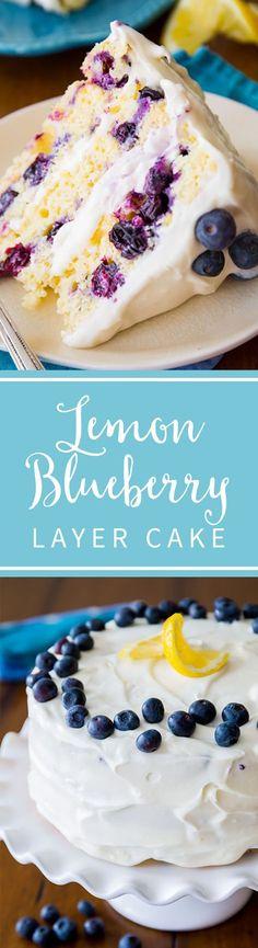 Tbest lhe best lemon cake! Lemon blueberry layer cake is delicious, easy, moist, and perfect for spring and summer dessert! Recipe on sallysbakingaddiction.com